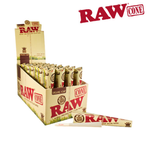 A box of RAW organic pre-rolled cones.