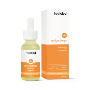 A photo of a bottle of FeelCBD Tincture drops.